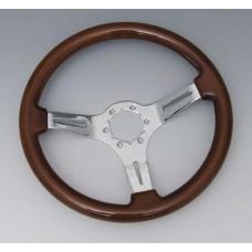 68-82 Corvette Steering Wheel. Mahogany/Chrome 3 Spoke