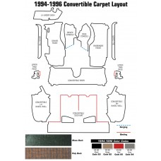 1994-1996 Corvette Carpet Set Convertible Poly Back